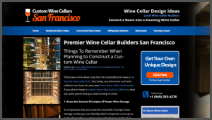 Click here to see the live Custom Wine Cellars San Francisco Website Design
