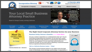 Click here to see the live Incorporation Attorney Orange California Website Design