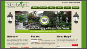 Click here to see the live Starbright Landscape Lake Forest Orange County California Website Design