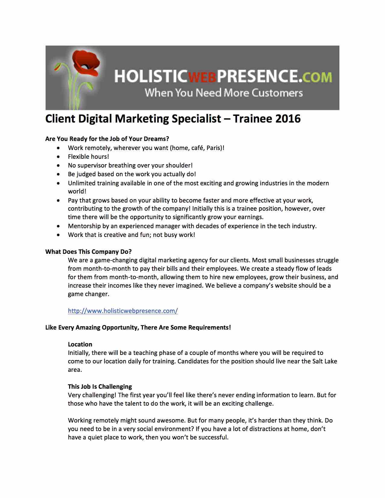 NOW HIRING Dream Job Available Client Digital Marketing – Digital Marketing Job Description