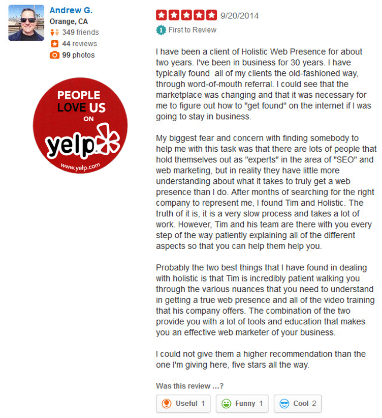 Holistic Web Presence Reviews - YELP - What People Are Saying 51