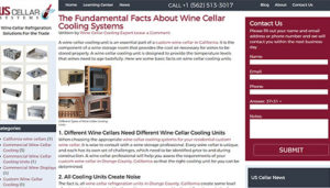 Click here to see the live US Cellar Systems Blog Website Design